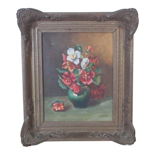 Early 20th Century Antique Floral Bouquet of Flowers Still Life Oil Painting For Sale