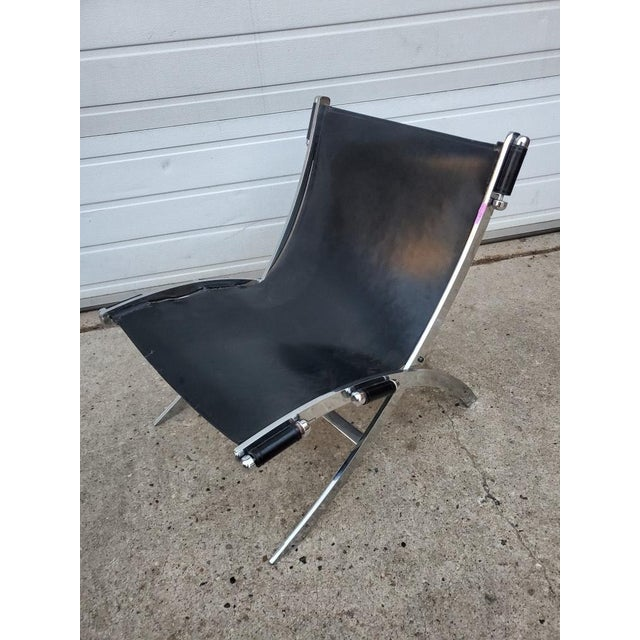 Mid Century Modern Antonio Citterio for Flexform Chrome and Leather Lounge Chair Post-modern Scissor chair in stainless...
