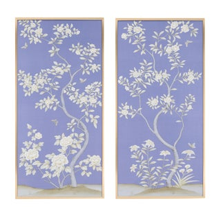 "Jardins en Fleur ""Inverness"" by Simon Paul Scott Chinoiserie Hand-Painted Silk Diptych, Out of Production - 2 Pieces For Sale"