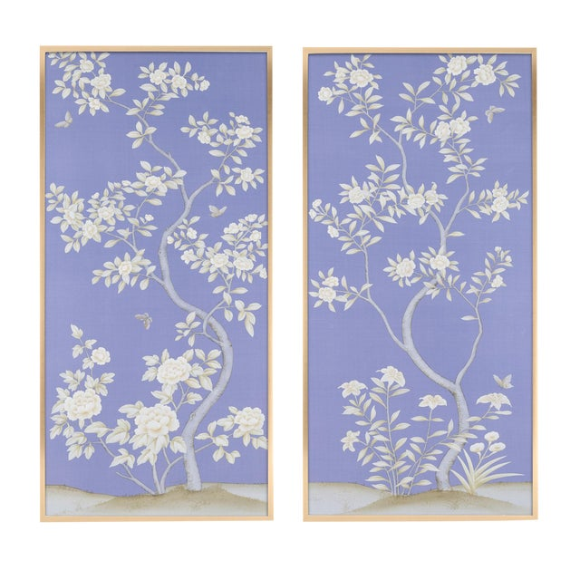 """Jardins en Fleur """"Inverness"""" by Simon Paul Scott Chinoiserie Hand-Painted Silk Diptych, Out of Production - 2 Pieces For Sale"""