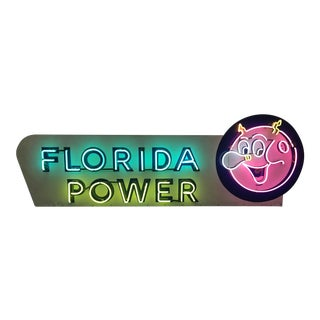 Vintage Reddy Kilowatt Florida Power Neon Porcelain Sign