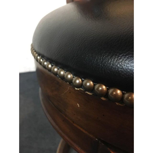 Mahogany & Black Leather Swivel Bar Stools - A Pair - Image 11 of 11