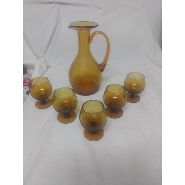Glass Hand Blown Amber Decanter & Glasses - Set of 6 For Sale - Image 7 of 7