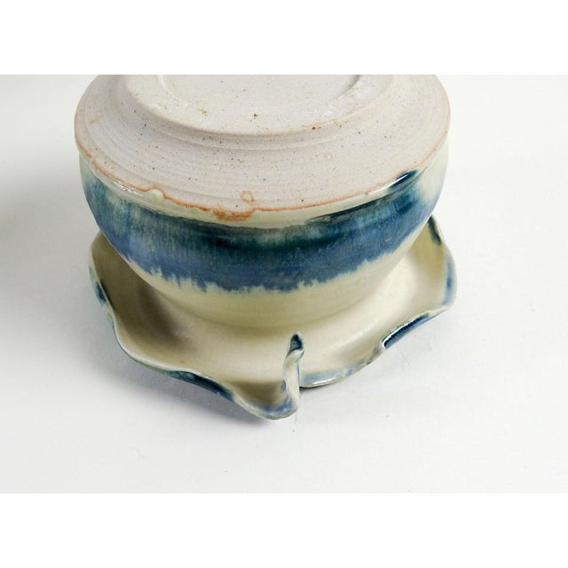 Studio Pottery Hand Thrown Teal & White Vase - Image 7 of 7