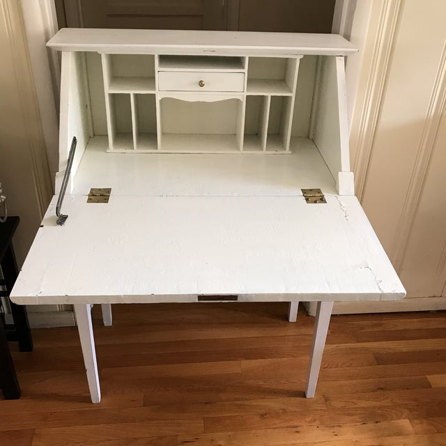 Distressed White Secretary Desk - Image 3 of 10