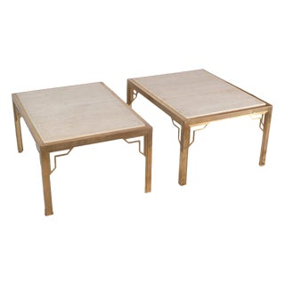 Pair of Brass End-Sofa Tables With Travertine Tops For Sale