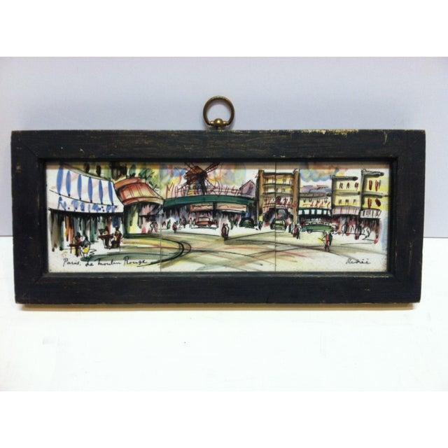 "Paint Vintage Mid Century ""Paris - Le Moulin Rouge"" Original Painting on Tiles by Renee' For Sale - Image 7 of 7"