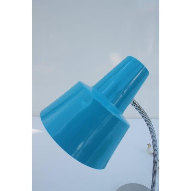 Directional Vintage Chrome & Blue Shade Desk Lamp - Image 7 of 8