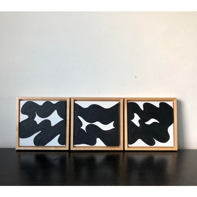 Wood Wave Runner Abstract Black and White Framed Triptych For Sale - Image 7 of 7