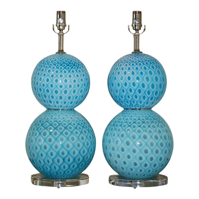 Galliano Ferro Vintage Murano Glass Table Lamps Blue For Sale - Image 11 of 11