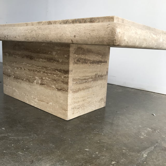 Solid Travertine Coffee Table For Sale - Image 9 of 12