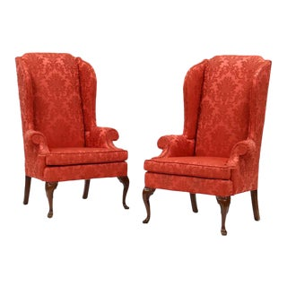 Upholstered Wing Back Arm Chairs - a Pair For Sale