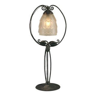 "French Art Deco Wrought Iron ""Harp"" Configuration Table Lamp For Sale"