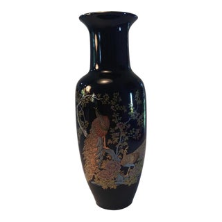 Japanese Vase Decorated With Peacocks & Flowers For Sale
