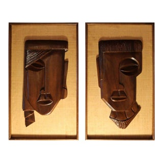 Framed Carved Brown Rosewood African Faces - a Pair