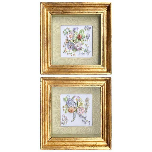 19th Century Bisque German Porcelain Floral Plaques in Shadow Boxes - a Pair For Sale - Image 12 of 12