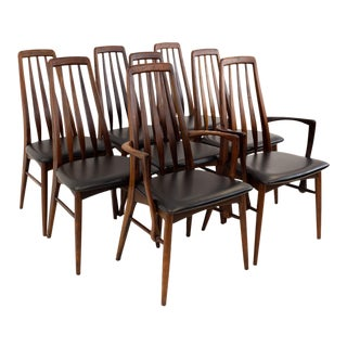 Vintage Mid Century Niels Koefoeds Hornslet Rosewood Eva Dining Chairs- Set of 8 For Sale