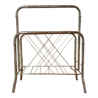Vintage Brass Faux Bamboo Magazine Stand