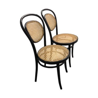 Vintage Black and Tan Caned Chairs Attributed Thonet - Pair