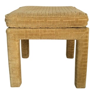 1980s Mid Century Modern Milo Baughman Upholstered Parsons Stool FootStool For Sale