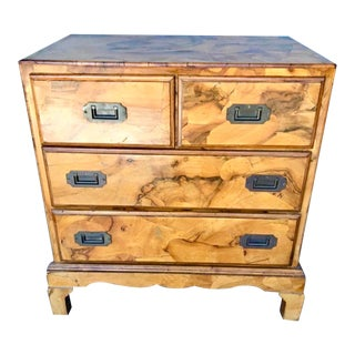 Italian Olive Burl Wood Chest of Drawers For Sale