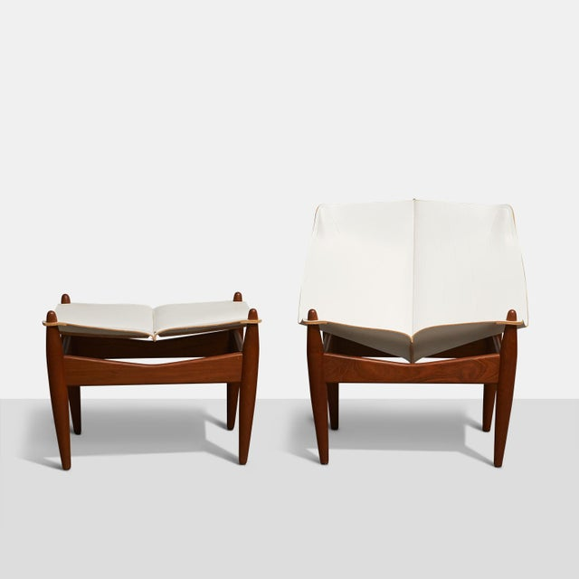 Mid-Century Modern Illum Wikkelso Easy Chair and Ottoman - 2 Pieces For Sale - Image 3 of 5