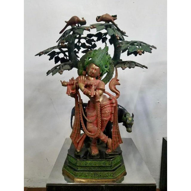 Hindu God Krishna With Sacred Cow Sculpture For Sale - Image 9 of 9
