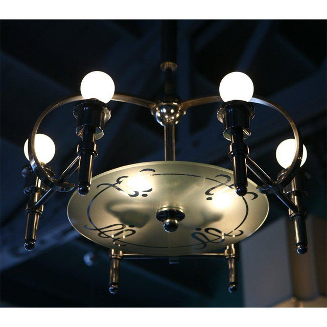 Pietro Chiesa Italian Machine-Age Art Deco Chandelier Pietro Chiesa For Sale - Image 4 of 7