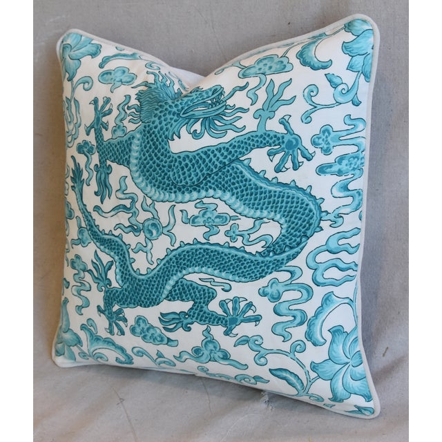 "Scalamandre Italian Chinoiserie Scalamandre Dragon Feather/Down Pillow 19"" Square For Sale - Image 4 of 7"