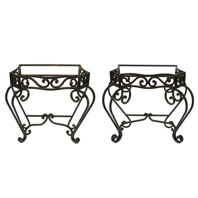 Mediterranean A Pair of Outdoor Iron Console Bases For Sale - Image 3 of 3