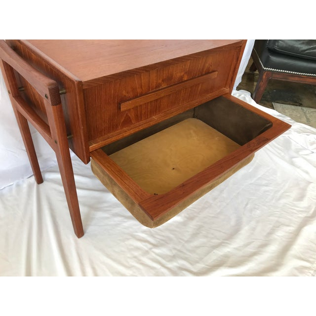 Mid-Century Modern Vintage Danish Sewing Side Table For Sale - Image 3 of 13