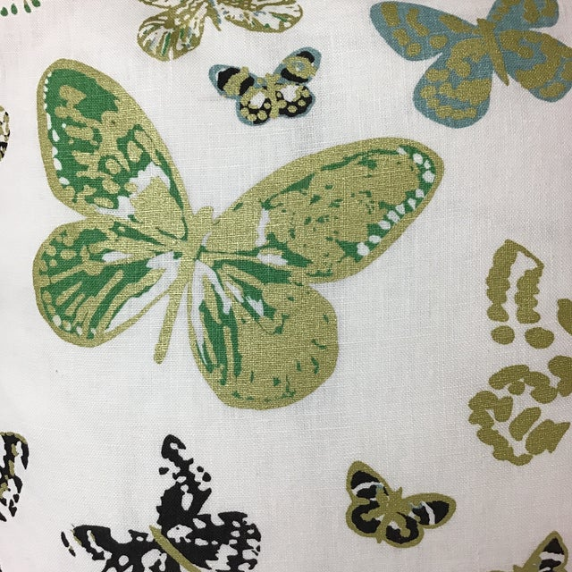 "Beautiful metallic butterfly print on linen by Lulu DK. Duralee. 20""x20"" Contrast welted in green braid with hidden..."