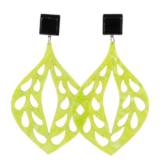 Dangling Chandelier Lucite Clip Earrings Carved Moonglow Green & Black For Sale