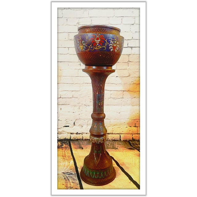 Gorgeous and rare Japanese 19th century jardiniere and stand made of enamel and bronze. All original and in excellent...
