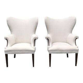 1970s Mid-Century Modern White Butterfly Wingback Chairs - a Pair