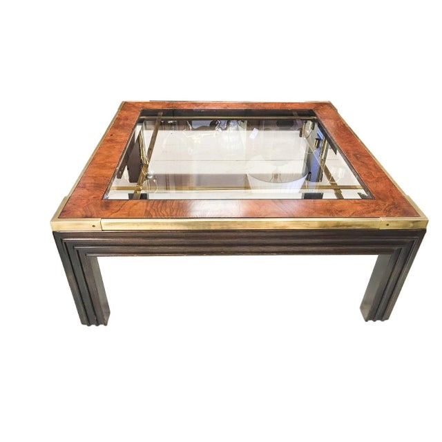 Brass, Wood and Smoked Glass Coffee Table - Image 1 of 4