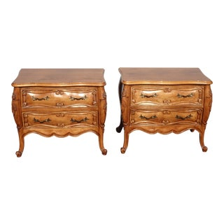 Pair Vintage French Country Fremarc Bombe Bombay Nightstands by Fremarc Designs For Sale