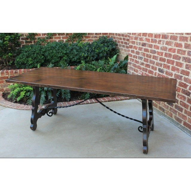 Antique French Spanish Oak 19th Century Mission Catalan Style Farmhouse Dining Table Desk For Sale - Image 10 of 13