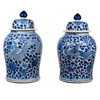 Pair of Blue and White Temple Jars For Sale