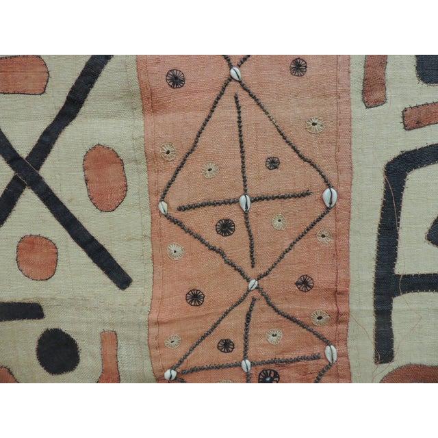 African Large Vintage African Applique Ceremonial Applique Kuba Raffia Skirt Panel For Sale - Image 3 of 7