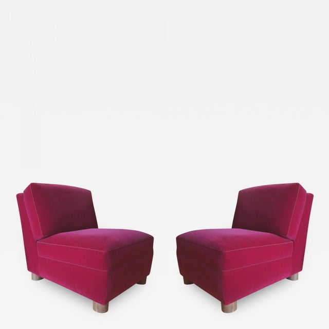 Pink Jean Royere Pair of Slipper Chairs Covered in Red Mohair Velvet For Sale - Image 8 of 8