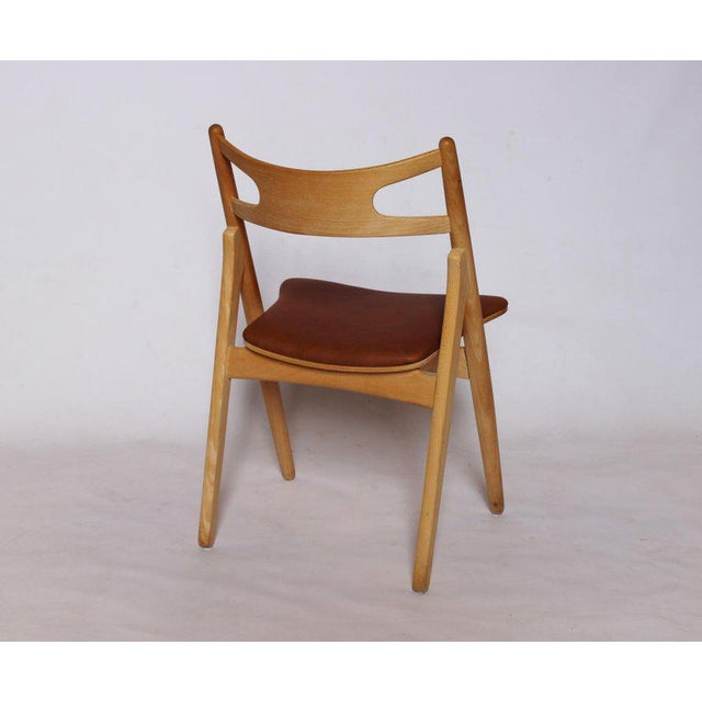 Mid-Century Modern 1970s Scandinavian Modern Hans J. Wegner Sawbuck Chair For Sale - Image 3 of 10