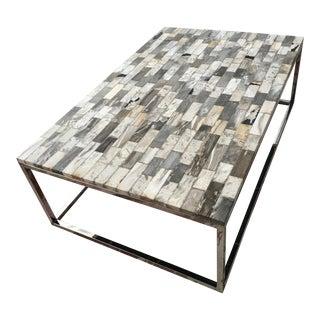 Palecek Mosaic Industrial Petrified Wood Rectangular Coffee Table Stainless Steel Legs - 55 Inch