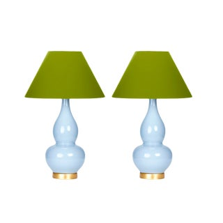 Casa Cosima Double Gourd Table Lamp, Stinson Blue/Dark Celery Shade - a Pair For Sale