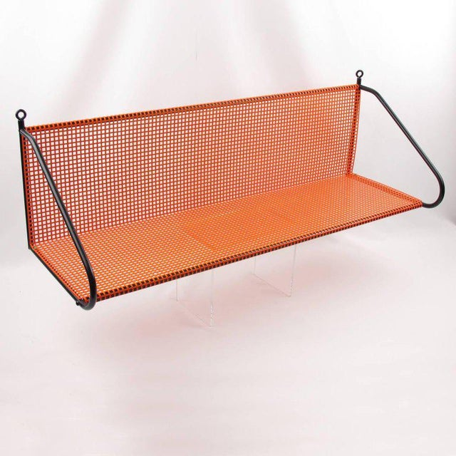 Mathieu Mategot Style Orange Perforated Metal Wall Bookshelf - Image 2 of 8