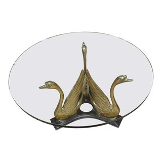 Hollywood Regency Brass Swan Base Cocktail Table For Sale