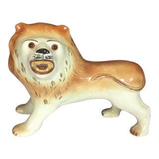 Antique Staffordshire Porcelain Lion Figurine For Sale