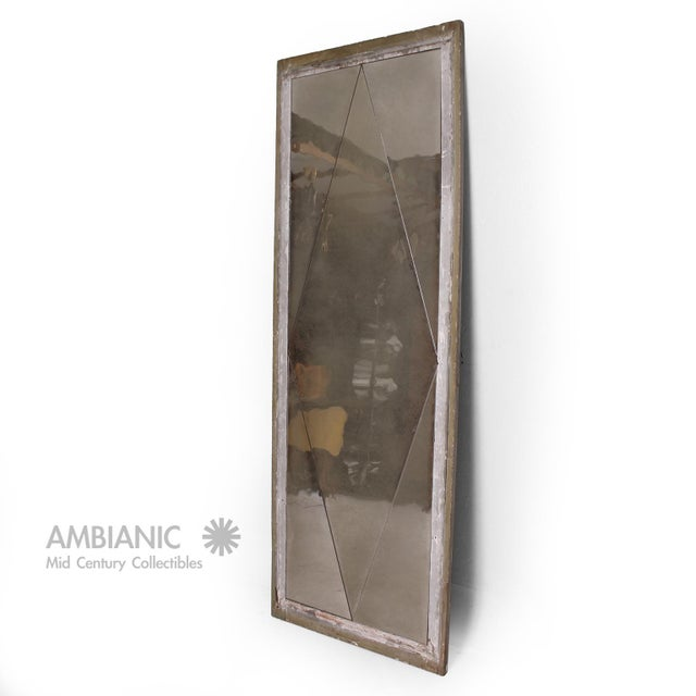 Antique Distressed French Floor Mirror With Diamond Pattern, 1940's For Sale - Image 9 of 9