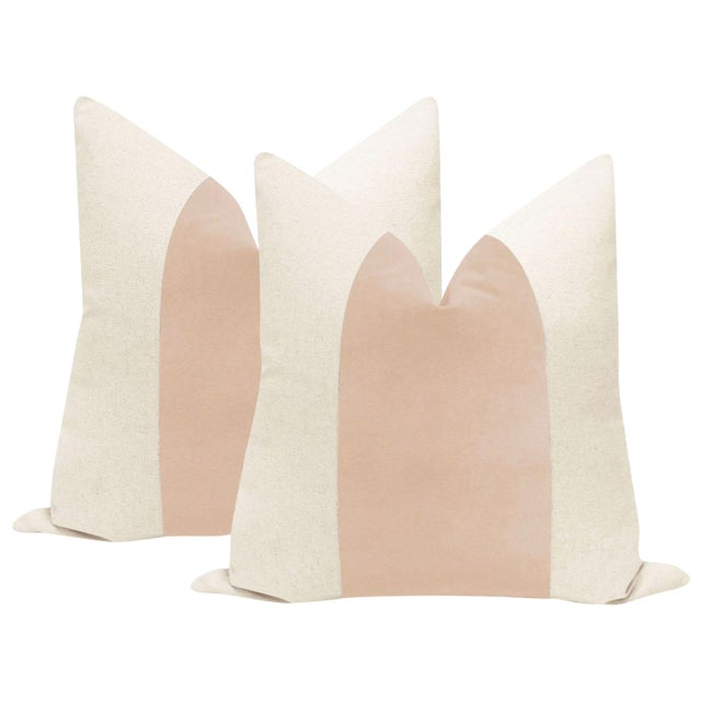 "22"" Pale Pink Velvet Panel & Linen Pillows - a Pair - Image 1 of 6"