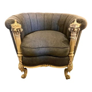 Barrel Back Carved Wood Club Chair For Sale